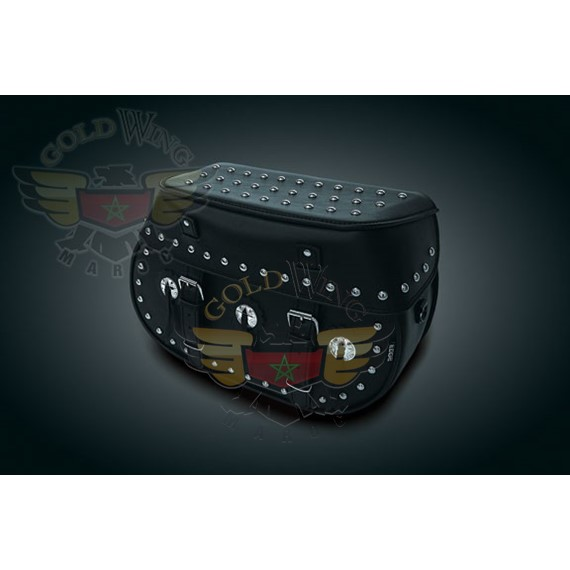 HARDMOUNT SADDLEBAGS W/CONCHOS & STUDS FOR USE W/QCK DETACHABLE BRACKETS